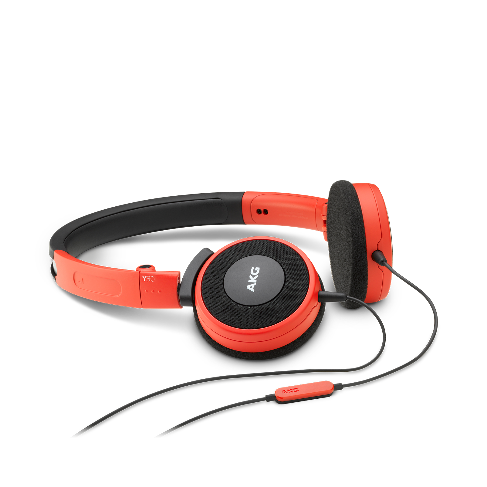 Y 30 - Red - Stylish, uncomplicated, foldable headphones with 1 button universal remote/mic - Hero